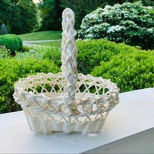 Large White Wicker Basket